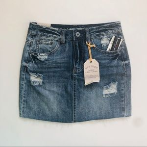 Ripped denim mini skirt vintage denim collection